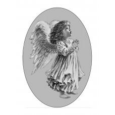 Овал Ч/Б 13х18 см, Ангел - арт #13001
