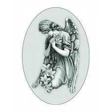 Заказать Ритуальный овал Ч/Б с изображением ангела