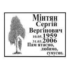 Ритуальная табличка Ч/Б с надписью и березой укр