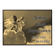 Ритуальная табличка цветная ангел сепия